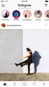 interface do instagram com stories e live