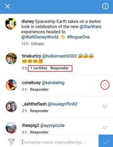 resposta dos comentário no instagram
