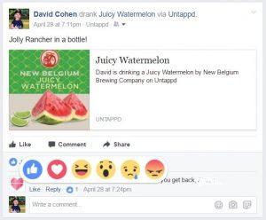 Reações nos comentários no facebook
